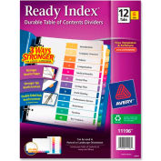 "Avery Ready Index T.O.C. Reference Divider, 1 to 12, 8.5""x11"", 12 Tabs, 6 Sets, White/Multi"