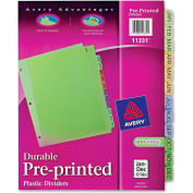 "Avery Preprinted Monthly Plastic Divider, Printed Jan to Dec, 8.5""x11"", 12 Tabs, Multicolor/Assorted"