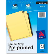 """Avery A to Z Gold Line Black Leather Tab Divider, Printed A to Z, 8.5""""x11"""", 25 Tabs, Buff/Black"""