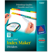 """Avery Index Maker Punched Clear Label Tab Divider, Blank, 8.5""""x11"""", 12 Tabs, 5 Sets, White/Multi"""