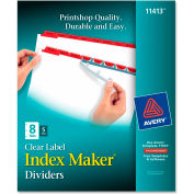 """Avery Index Maker Punched Clear Label Tab Divider, Blank, 8.5""""x11"""", 8 Tabs, 5 Sets, White/Red"""