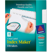 """Avery Index Maker Clear Label Divider with Tabs, Blank, 8.5""""x11"""", 8 Tabs, White/White"""