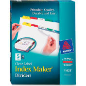 "Avery Index Maker Punched Clear Label Tab Divider, Blank, 8.5""x11"", 5 Tabs, 25 Sets, White/Multi"
