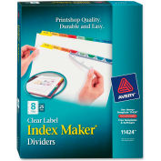 "Avery Index Maker Punched Clear Label Tab Divider, Blank, 8.5""x11"", 8 Tabs, 25 Sets, White/Multi"