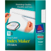 Avery Index Maker Clear Label Divider, Print-on, 12 Tabs, White/White