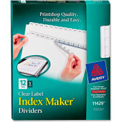 """Avery Index Maker Clear Label Divider, Blank, 8.5""""x11"""", 12 Tabs, 5 Sets, White/White"""