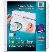 "Avery Index Maker Extra-Wide Tab Divider, Blank, 9""x11"", 8 Tabs, 5 Sets, White/White"