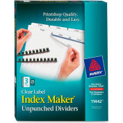 """Avery Index Maker Clear Label Divider, Easy Apply, 8.5""""x11"""", 3 Tabs, 25 Sets, White/White"""