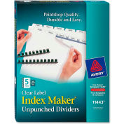 """Avery Index Maker Clear Label Divider, Blank, 8.5""""x11"""", 5 Tabs, 25 Sets, White/White"""