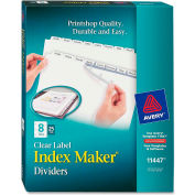 "Avery Index Maker Clear Label Divider, Punched, 8.5""x11"", 8 Tabs, 25 Sets, White/White"