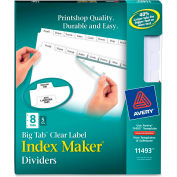 """Avery Big Tab Index Maker Clear Label Divider, 8.5""""x11"""", 8 Tabs, 5 Sets, White/White"""