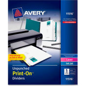 "Avery Customizable Unpunched Print-On Divider, 9.5""x11"", 5 Tabs, 5 Sets, White/White"