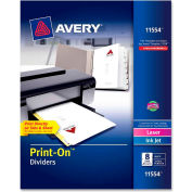 "Avery Customizable Print-On Divider, 8.5""x11"", 8 Tabs, 25 Sets, White/White"