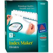 "Avery Index Maker Label Divider, 8.5""x11"", 5 Tabs, 50 Sets, White/White"