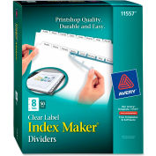 "Avery Index Maker Label Divider, 8.5""x11"", 8 Tabs, 25 Sets, White/White"