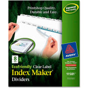 "Avery Eco-friendly Index Divider, Print-on, 8.5""x11"", 8 Tabs, 5 Sets, White/White"