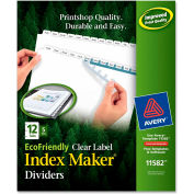 """Avery Eco-friendly Index Divider, Print-on, 8.5""""x11"""", 12 Tabs, 5 Sets, White/White"""