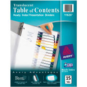 """Avery Ready Index Translucent T.O.C. Divider, Print-on, 8.5""""x11"""", 15 Tabs, Clear/Multi"""