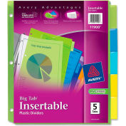 Avery Big Tab Plastic Insertable Divider, Print-on, 5 Tabs, Multicolor/Multicolor