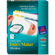 """Avery 5-Colored Tabs Presentation Divider, Print-on, 8.5""""x11"""", 5 Tabs, 25 Sets, White/Multicolor"""