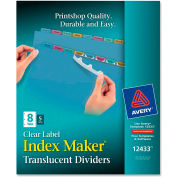"""Avery Index Maker Easy Apply Clear Label Divider, Blank, 8.5""""x11"""", 8 Tabs, 5 Sets, Plastic/Multi"""