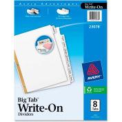 "Avery Big Tab Write-On Divider with Erasable Tab/Write-on, 8.5""x11"", 8 Tabs, White/White"