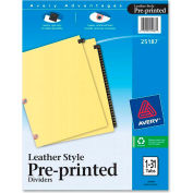 """Avery Black Leather Daily Tab Divider, Printed 1 to 31, 8.5""""x11"""", 31 Tabs, White/White"""