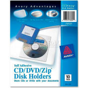 Avery Self-Adhesive Media Holder, AVE73721, 1 CD/DVD Capacity, Clear, 10/Pk