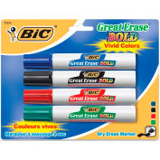 BIC Great Erase Dry Erase Markers - Chisel Marker Point Style - Assorted Ink, 4/Set