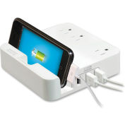 Compucessory Surge Protector/iPad Stand/Holder, USB, 6' Cord, White
