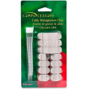 Compucessory Cable Management Clips, 58262, W/Double Sided Tape, 16/Pk, Grey