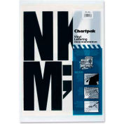 "Chartpak® Vinyl Capital Letters, 6""H, 38 Letters, Black"