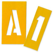 "Chartpak Painting Letters & Numbers Stencil, CHA01560, 3""H, Yellow, Gothic Font, 35/Set"