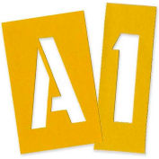 """Chartpak Painting Letters & Numbers Stencil, CHA01565, 4""""H, Yellow, Gothic Font, 35/Set"""
