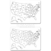 "ChenilleKraft 2-Sided Large USA Map Whiteboard, CKC9873, 23.63"" x 18"", Dry Earse White Board"