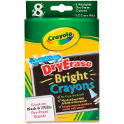 Crayola Dry Erase Crayon, CYO98-5202, Bright Assorted Colors, 8/Pk