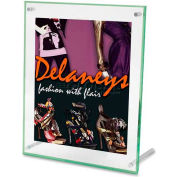 """Deflect-o® Beveled Sign Holder, DEF799693, 11"""" x 8.5"""", Clear W/Green Tinted Edges Frame"""