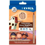 Lyra Color Giants Skin Tone Colored Pencils, 6.3 mm Lead Size, Assorted Lead, 12/Set