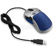 """Fellowes® HD Optical Mouse, 98905, 5-Button, Corded, 2-1/4"""" X 4-1/2"""" X 1-3/4"""", Silver/Blue"""