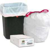 """Genuine Joe Drawstring Trash Can Liners, 16 Gal, 24""""x25-1/8"""", White, 0.90 Mil, 60/Pk, GJO01229"""