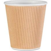Genuine Joe Rippled Hot Cups, 10 oz., 500/CT, Brown - GJO11256CT