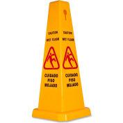 "Genuine Joe Four Sided Safety Caution Cone 10"" x 24"" Multi-Lingual, Yellow - GJO58880"