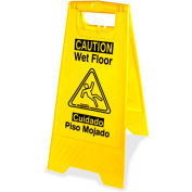 Genuine Joe Graphic Two Sided Wet Floor Sign, English/Spanish, Yellow - GJO85117