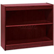 "Lorell® 2-Shelf Panel End Hardwood Veneer Bookcase, 36""W x 12""D x 30""H, Mahogany"