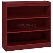 "Lorell® 3-Shelf Panel End Hardwood Veneer Bookcase, 36""W x 12""D x 36""H, Mahogany"