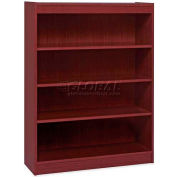 "Lorell® 4-Shelf Panel End Hardwood Veneer Bookcase, 36""W x 12""D x 48""H, Mahogany"