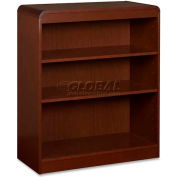"Lorell® 3-Shelf Radius Hardwood Veneer Bookcase, 36""W x 12""D x 36""H, Mahogany"