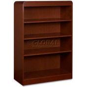 "Lorell® 4-Shelf Radius Hardwood Veneer Bookcase, 36""W x 12""D x 48""H, Mahogany"