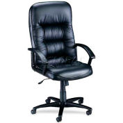 "Lorell® Tufted Leather Executive High-Back Chair, 25-3/4""W x 29""D x 49""H, Black"