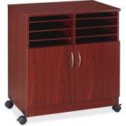 "Lorell® Mobile Machine Stand w/Sorter, 19-3/4""x30-1/2""x28', Mahogany"